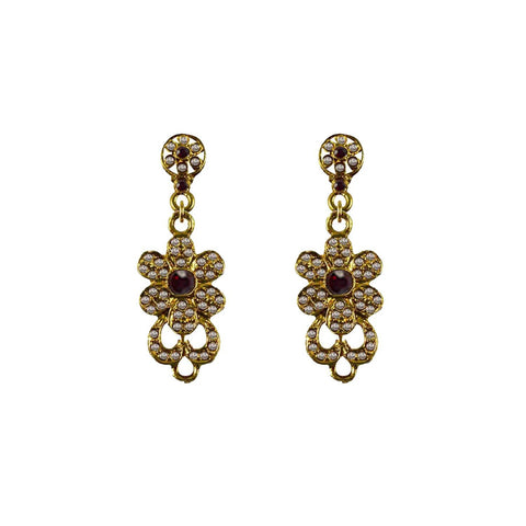 Golden Color Brass Stone Stud-Gold Platted Ear Rings - ear669