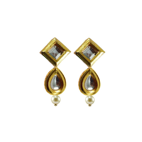 Golden Color Brass Kunudan Stud-Gold Platted Ear Rings - ear676