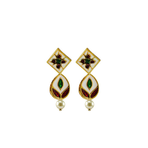 Multi Color Brass Meenkari Gold Platted Ear Rings - ear677