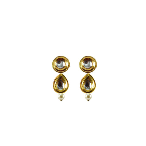 Golden Color Brass Kunudan Stud-Gold Platted Ear Rings - ear678