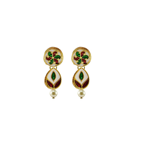 Golden Color Brass Meenkari Gold Platted Ear Rings - ear679