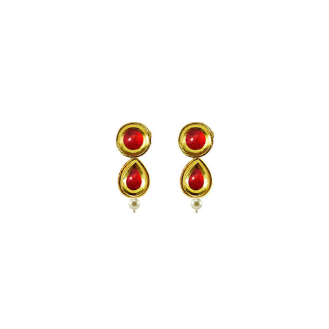Golden Color Brass Kunudan Stud-Gold Platted Ear Rings - ear680