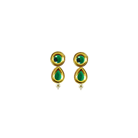 Golden Color Brass Kunudan Stud-Gold Platted Ear Rings - ear681