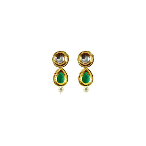 Golden Color Brass Kunudan Stud-Gold Platted Ear Rings - ear682