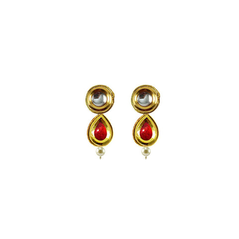 Golden Color Brass Kunudan Stud-Gold Platted Ear Rings - ear683