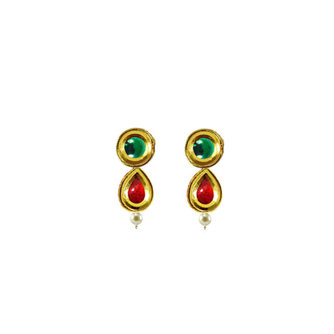 Golden Color Brass Kunudan Stud-Gold Platted Ear Rings - ear684