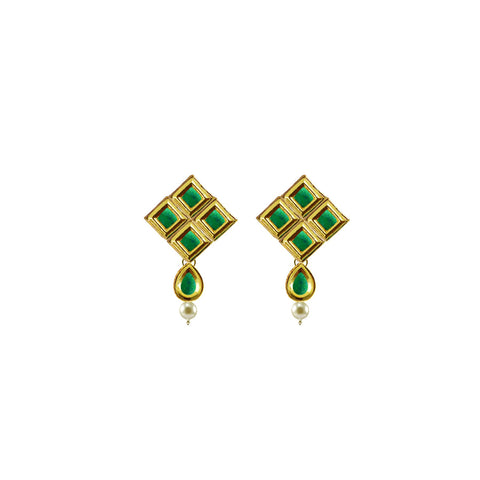 Golden Color Brass Kunudan Stud-Gold Platted Ear Rings - ear687
