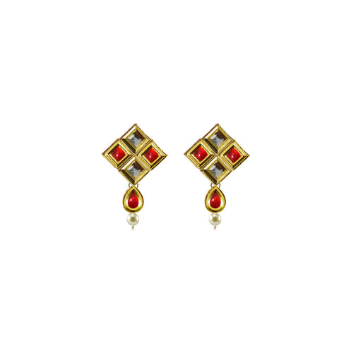 Golden Color Brass Kunudan Stud-Gold Platted Ear Rings - ear689