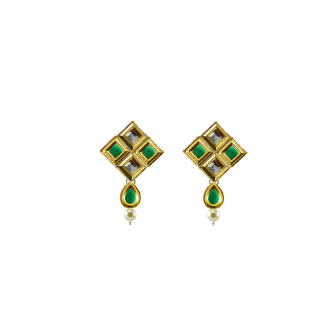 Golden Color Brass Kunudan Stud-Gold Platted Ear Rings - ear690