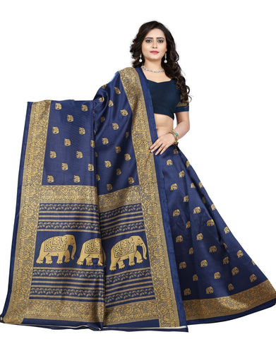 Blue Color Art Silk Saree  - elephant-print-blue