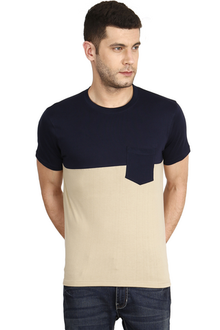 Navy Color Cotton Mens T-Shirt - elk-1800-10