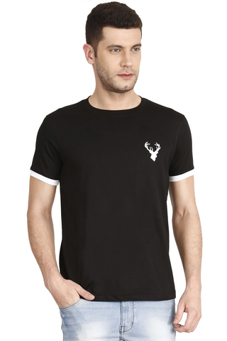 Black Color Cotton Mens T-Shirt - elk-1800-11