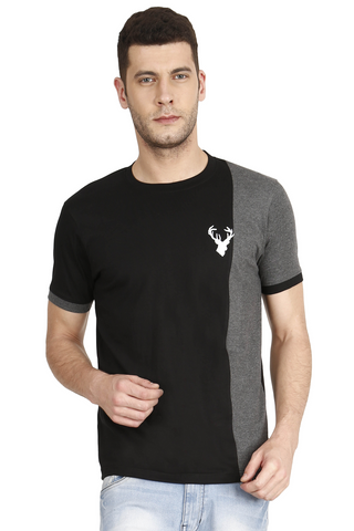 Black Color Cotton Mens T-Shirt - elk-1800-13