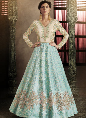 White and SkyBlue Color Silk Semi-Stitched Salwar - emotive-11060