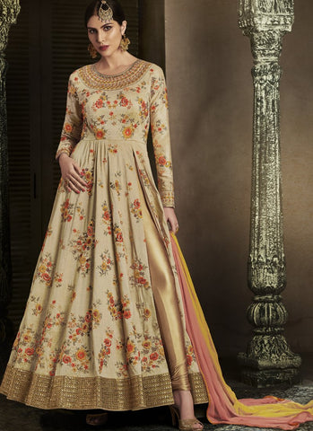 Beige Color Handloom Silk Semi-Stitched Salwar - emotive-11065