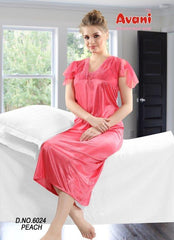 Buy Peach Color Jersy Fancy Stitched Night Dress