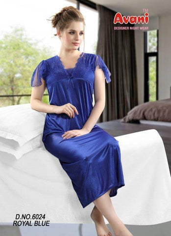 Royal Blue Color Jersy Fancy Stitched Night Dress - fe-6024-Royal-Blue