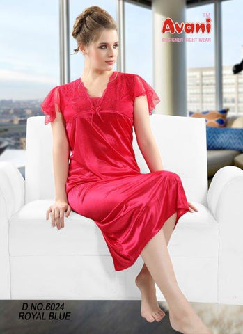 Wine Color Jersy Fancy Stitched Night Dress - fe-6024-Wine