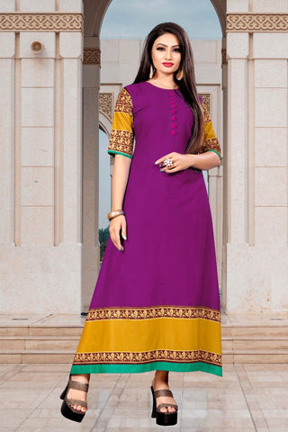 Purple Color Rayon Women's Stitched Long Kurti - g-126