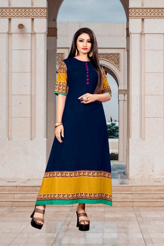 Navy Blue Color Rayon Women's Stitched Long Kurti - g-426