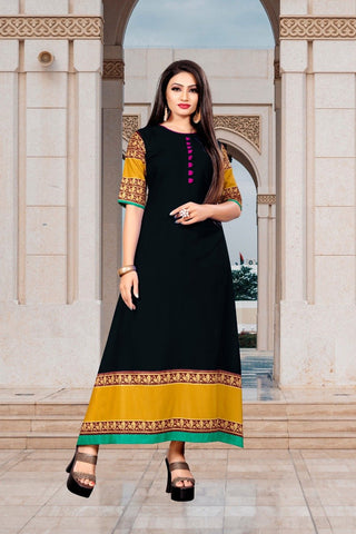 Black Color Rayon Women's Stitched Long Kurti - g-526