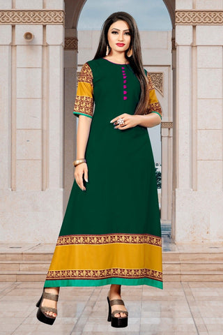Green Color Rayon Women's Stitched Long Kurti - g-626