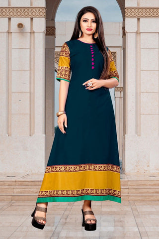 Green Color Rayon Women's Stitched Long Kurti - g-726