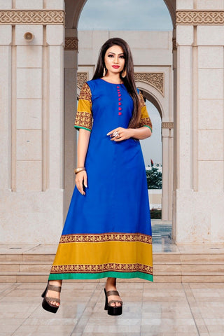 Blue Color Rayon Women's Stitched Long Kurti - g-826