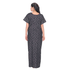 Black Color Cotton Women's Square Neck Nighty - NW0237_BL