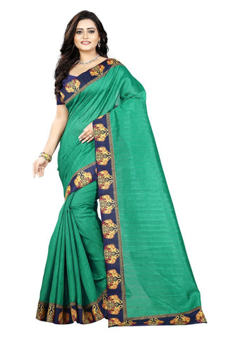 Green Color Bhagalpuri Silk Saree - ganesha-green-1