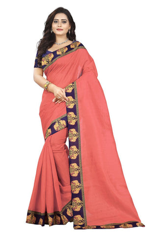 Peach Color Bhagalpuri Silk Saree - ganesha-peach-1