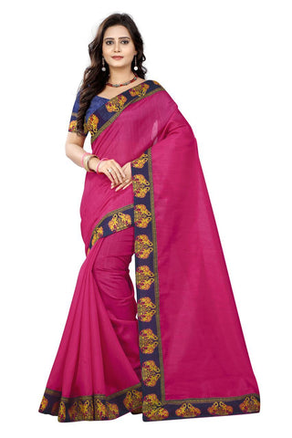 Pink Color Bhagalpuri Silk Saree - ganesha-pink-1