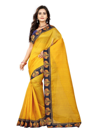 Yellow Color Bhagalpuri Silk Saree - ganesha-yellow-1
