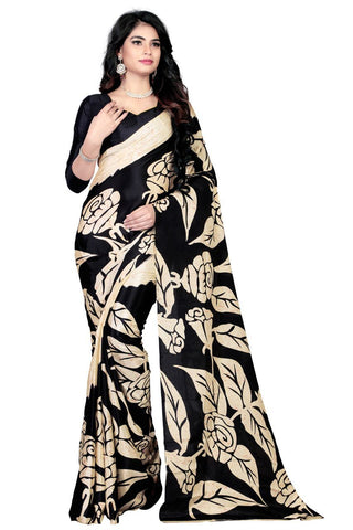 Black Color Crepe Silk Saree - georgette 200