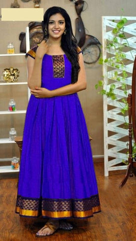 Royal Blue Color Rayon Women's Stitched Gown - go-1126