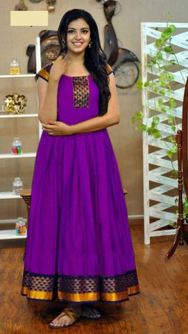 Purple Color Rayon Women's Stitched Gown - go-126