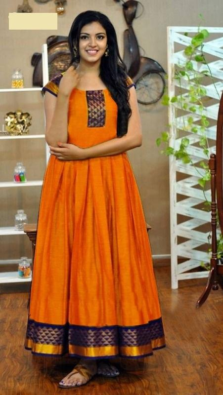 Buy Orange Color Rayon Women's Stitched Gown