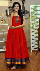 Buy Red Color Rayon Women's Stitched Gown
