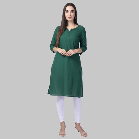 Green Color Cotton Women's Stitched Kurti - green-cotton-kurta