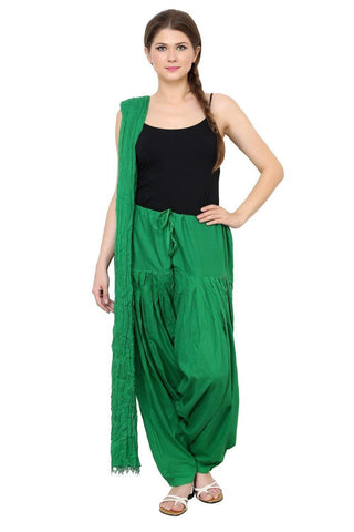 COMBOS - Green Color Cotton Stitched Women Patiala Pant With Duppata - Green