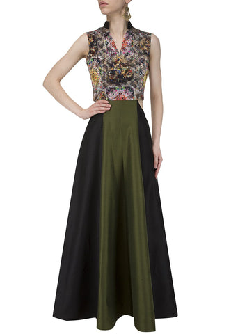 Mulit Color Creap Stitched Gown - greengown