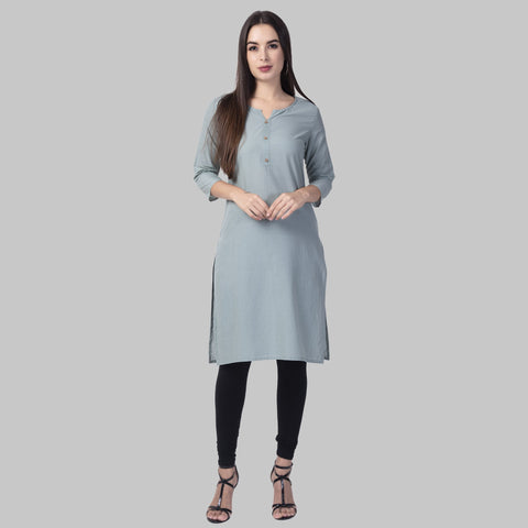 Grey Color Cotton Women's Stitched Kurti - grey-cotton-kurta