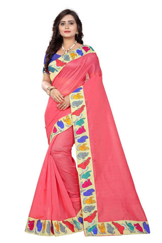 Peach Color Bhagalpuri Saree - hand-peach