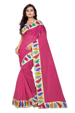 Pink Color Bhagalpuri Saree - hand-pink
