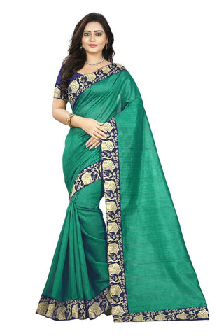 Green Color Bhagalpuri Silk Saree - house-green-1