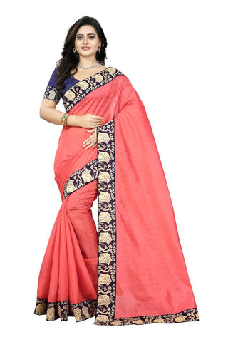Peach Color Bhagalpuri Silk Saree - house-peach-1