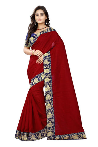Red Color Bhagalpuri Silk Saree - house-red-1