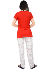 Red Color Cotton Stitched Women Night Dress - A0009