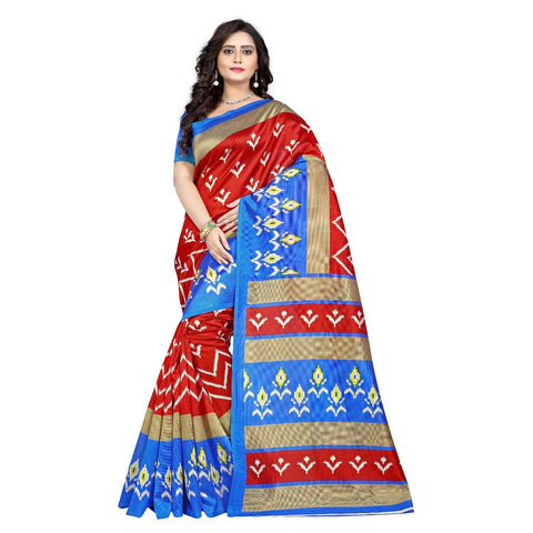 Blue Color Art Silk Saree  - ikkat-print-blue