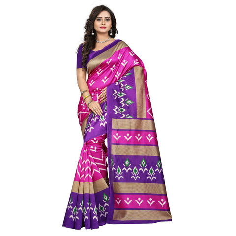 Pink Color Art Silk Saree  - ikkat-print-pink
